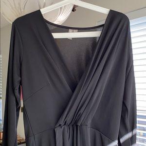 ASOS CURVE - long sleeve black dress w/ mid cinch